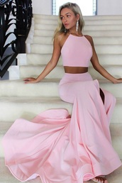 dress,baby pink two piece