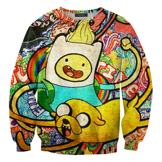 sweater cute top oversized sweater adventure time pullover sweatshirt cartoon