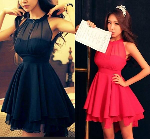 Mini Dress Irregular Hem Cute Dress Little Black Dress