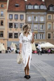 dress,white dress,midi dress,white midi dress,buttons dress,bag,shoes,creamy bag