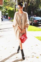 chic muse,blogger,top,cardigan,bag,sunglasses,knitted cardigan,red,oversized,bvlgari serpenti bag,bulgari serpenti bag