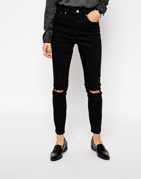 ASOS Ridley High Waist Ultra Skinny Ankle Grazer Jeans in Clean Black with Busted Knees at asos.com