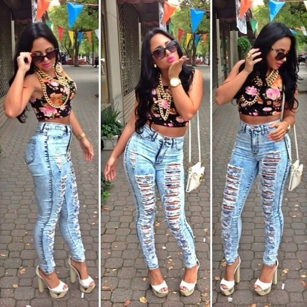 jeans high waisted jeans floral tank top jewels shirt