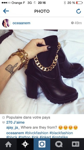 gold chain black boots
