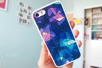phone cover purple blue shades glass effect geometric