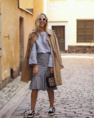 coat camel coat skirt top grey top tumblr camel trench coat midi skirt gingham gingham skirt sneakers low top sneakers