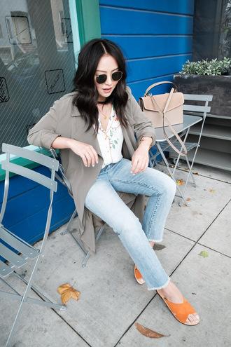 shirt coat grey coat tumblr pajama style denim jeans blue jeans shoes slide shoes sunglasses