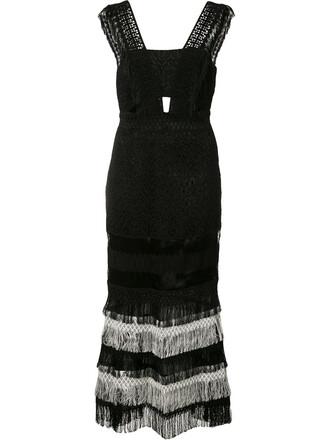 dress fringed dress women spandex cotton black silk