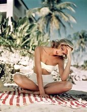 swimwear,grace kelly,actress,high waisted bikini,white bikini,swimwear two piece