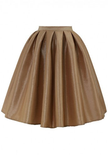 Champagne A-line Midi Skirt - Retro, Indie and Unique Fashion