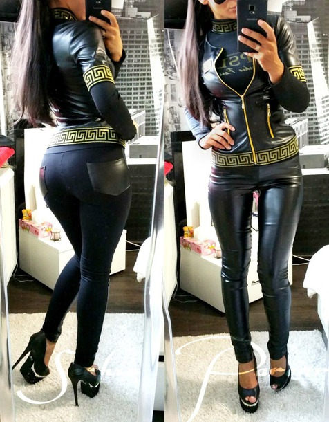 7538ed462428ff jacket gold women sexy hot leather jacket leggings black print outfit  lookbook outfit idea fall outfits