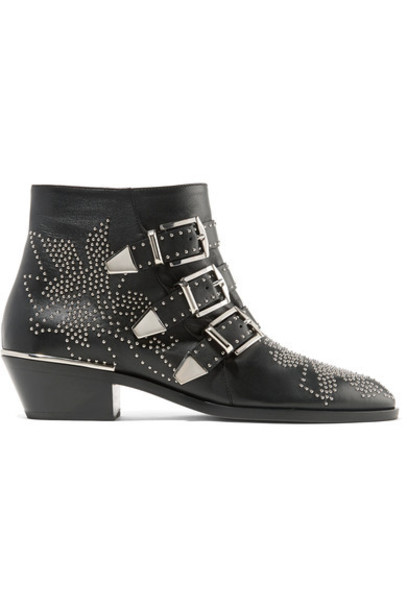 Chloe leather ankle boots studded ankle boots leather black shoes