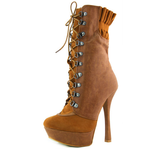 Women Ankle Booties Elastic Lace Up Stilettos High Heel Riding Mid Calf Camel | eBay