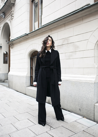 coat tumblr black coat long coat pants black pants wide-leg pants sweater black sweater all black everything winter outfits work outfits classy winter work outfit
