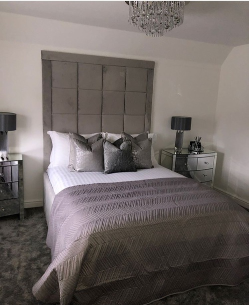 home accessory, tumblr bedroom, teen bedroom, grey tufted ...