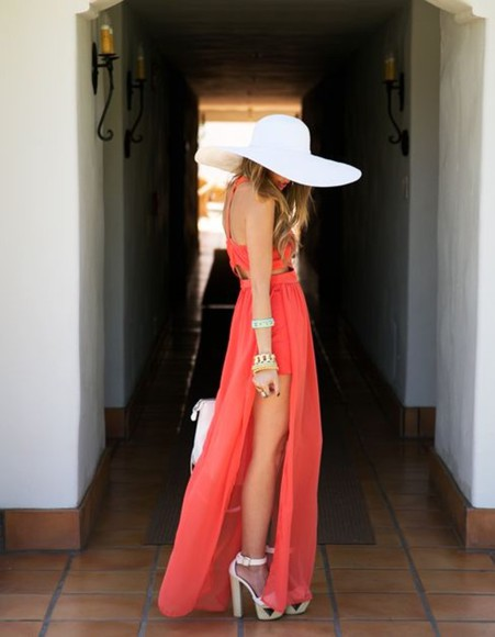 dress maxi dress shoes chiffon coral dress slit maxi dress coral maxi dress hat