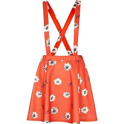 Red daisy print dungaree skater skirt