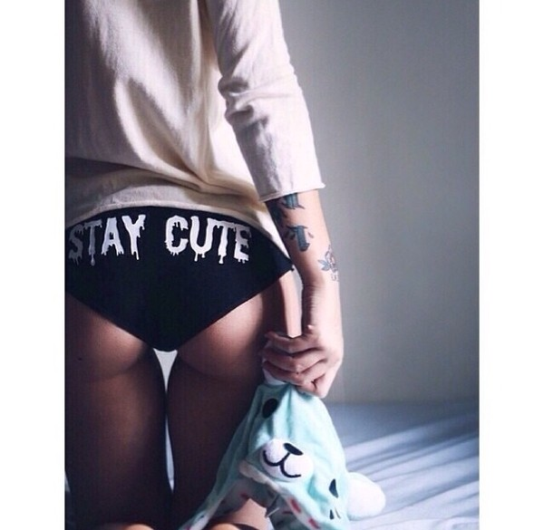 underwear stay cute black white