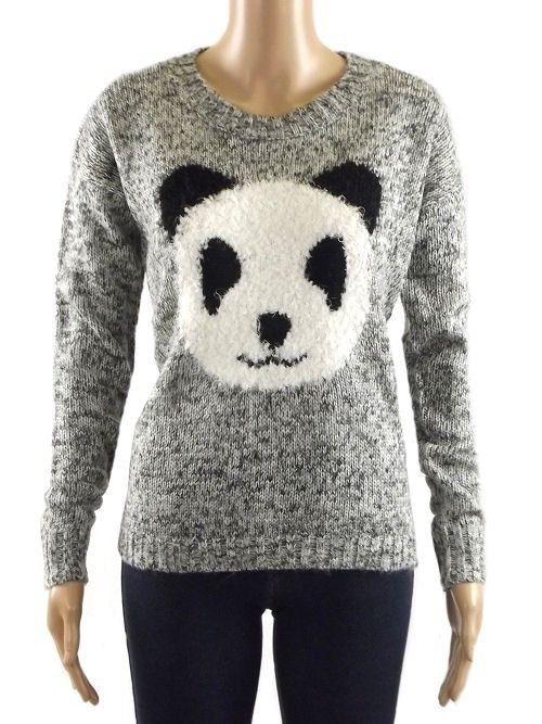 New heart & soul grey or burgandy marl panda jumper 10