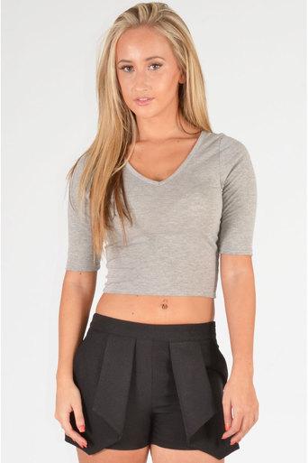 Merton Crop Top In Grey - Pop Couture