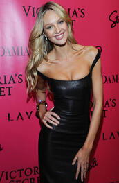 dress,leather,black,tight,candice swanepoel