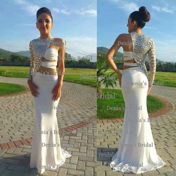 chiffon rhinestones beading floor length prom gowns gown evening dress backless sleeveless cut-out 308 ivory charming mermaird high neck o-neck prom dress party dress homecoming dress wedding clothes wedding dress bridal gowns bridal gowns online