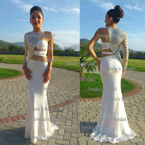 308 chiffon ivory open back cut-out charming rhinestones sleeveless beading mermaird floor length high neck o-neck prom dress party dress evening dress gown gown homecoming wedding wedding dress bridal gown bridal gown prom