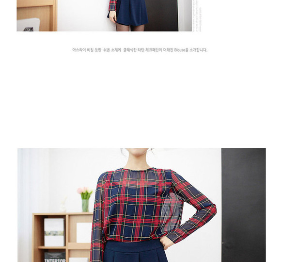 navy shirt plaid sheer top top check top