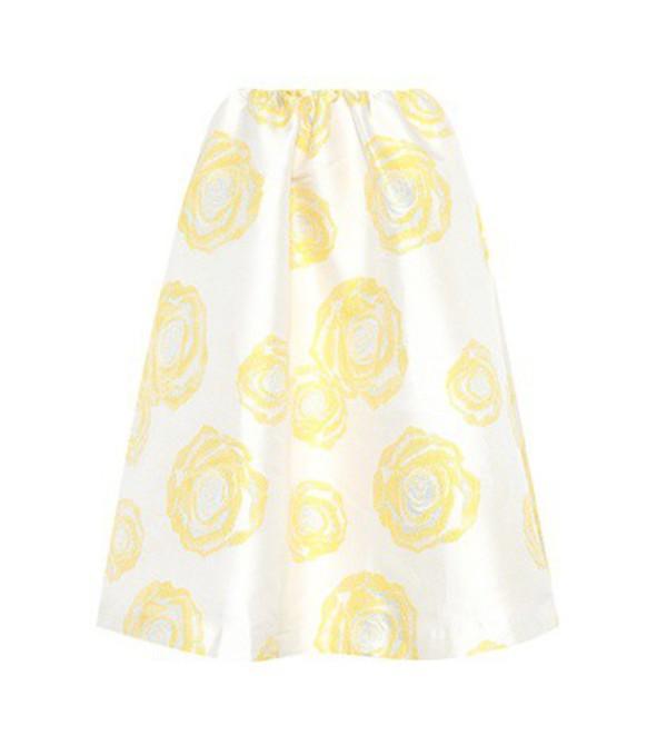 Ganni Turenne floral-jacquard skirt in white