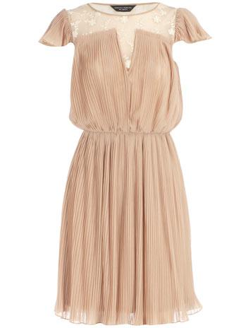 Mocha lace and pleat dress
