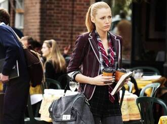 jacket shorts top scarf bag serena van der woodsen gossip girl blake lively blazer black jeans burgundy jacket grey bag