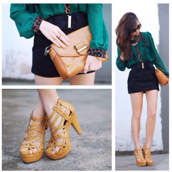 black black skirt blouse shoes high heels yellow sandals heels, high heels pumps ankle strap heels flatforms fashion