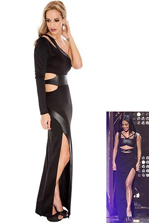 One Shoulder High Split Scuba PU Maxi in the style of Nicole Scherzinger