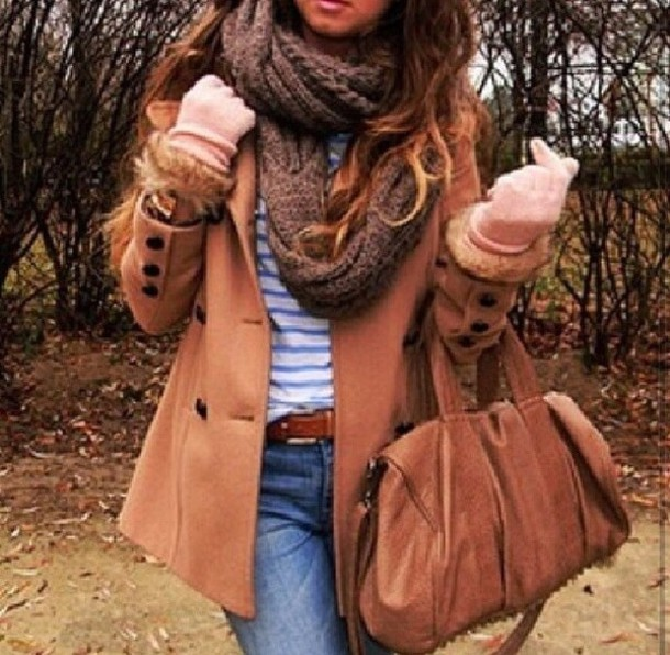 coat shirt scarf belt jeans