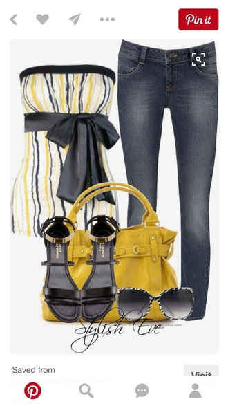 blouse tube top top shirt white yellow and black top