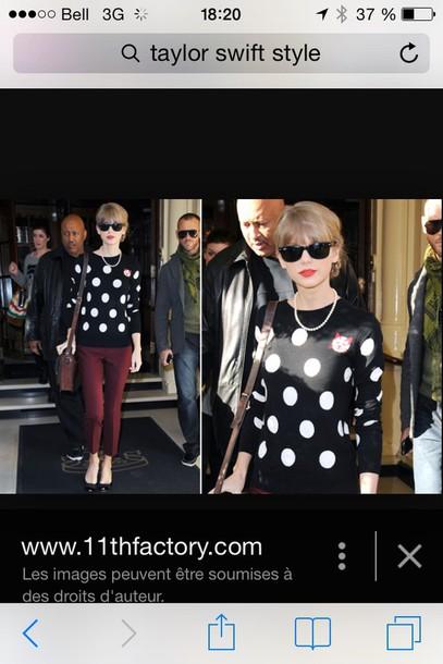 sweater taylor swift polka dots