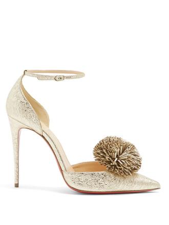 embellished pumps leather gold shoes