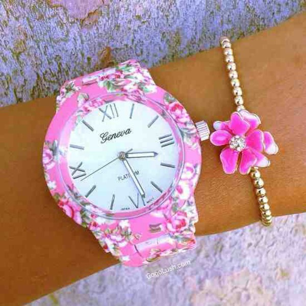 jewels watch flowers flower watch floral floral watch spring spring outfits summer summer outfits bracelets flower bracelet pearl pearl bracelet