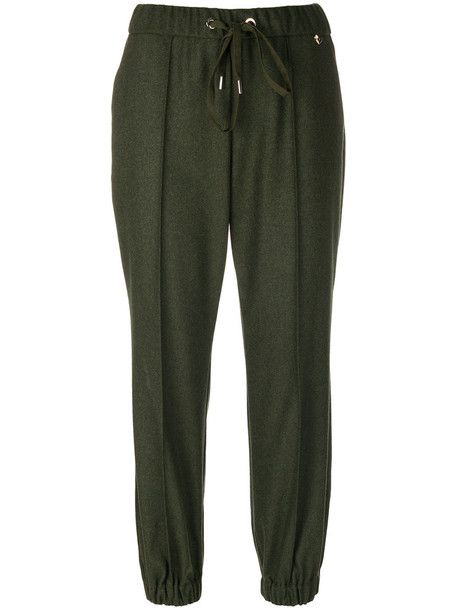 Twin-Set cropped women spandex wool green pants