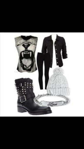 shirt animal sleeveless top cut off shirt mouth bracelets button up jeans boots black boots skinny jeans