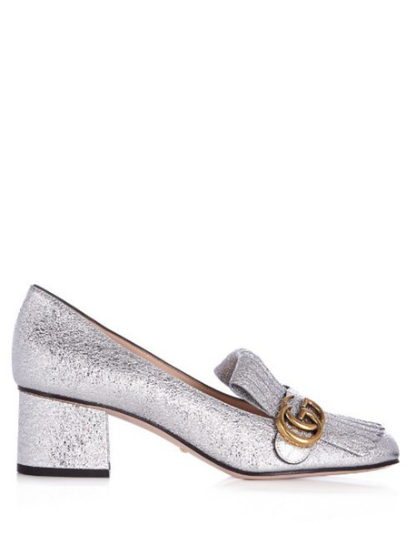 ab023bcc7da GUCCI Marmont fringed suede loafers in silver - Wheretoget