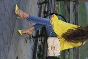 bag,tumblr,white bag,gucci,gucci bag,top,yellow,yellow top,denim,jeans,blue jeans,valentino rockstud,Valentino,slingbacks,sandals,sandal heels,high heel sandals,neon