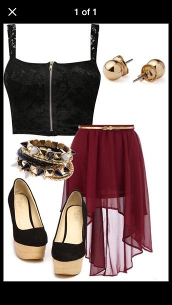 skirt flowy high low gold belt