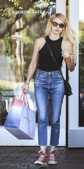top tank top black top emma roberts jeans sneakers sunglasses streetstyle shoes red converse red sneakers converse high top sneakers high top converse denim blue jeans cropped jeans cat eye bag black bag crossbody bag celebrity style celebrity