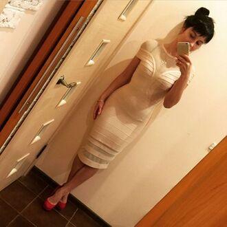 dress overknee bandage dress see-through bandage dress bandage dress mesh bandage drss beige bandage dress