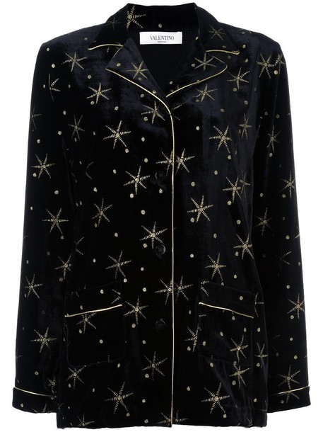 Valentino top embroidered women black silk