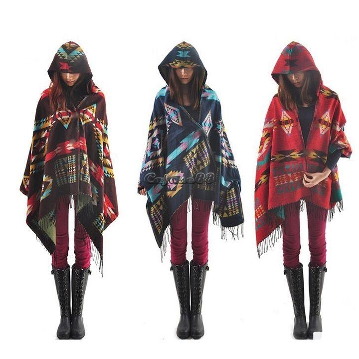 Women wool blend plaids blanket cloak poncho cape coat wrap shawl top outerwear