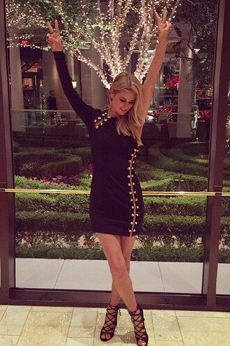 little black dress nicky hilton one shoulder sexy dress strappy sandals