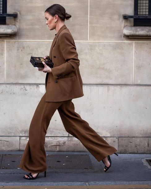 jacket high heels high heel sandals wide-leg pants suit earrings bag