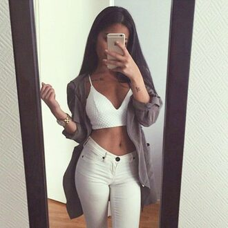 blouse outfit tumblr urban white monochrome filter bralette hoodie cardigan jeans white jeans denim watch minimalist